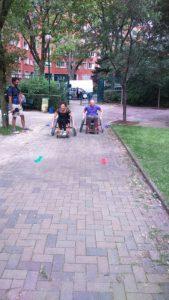 parcours en fauteuil roulant sportif