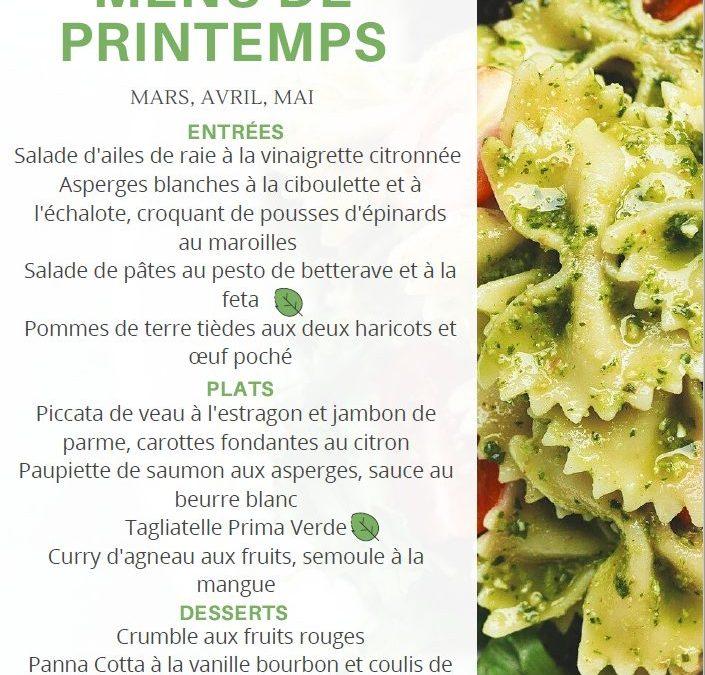 Notre menu de Printemps